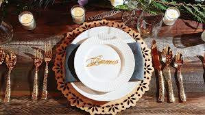 twelve30 creative laser cut wedding place cards Laser Cut Wedding Place Cards luxury wedding table setting with custom laser cut wood charger and matching laser cut gold acrylic black laser cut wedding place cards