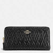 COACH f54003 ACCORDION ZIP WALLET IN GATHERED TWIST LEATHER IMITATION GOLD  BLACK