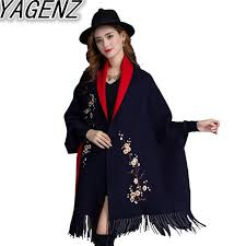 YAGENZ <b>Tassel</b> Cloak Shawl <b>Jacket</b> Female Autumn Winter <b>New</b> ...