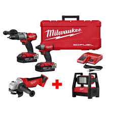 Milwaukee M18 Flood Light Home Depot Milwaukee M18 Fuel 18 Volt Li Ion Brushless Cordless Combo Kit 2 Tool W Free 4 1 2 In Cut Off Grinder And Rover Flood Light