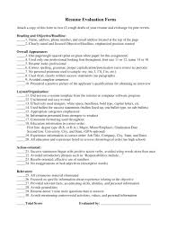 Free Resume Evaluation Site Resume Evaluation Form Resume For Study 29