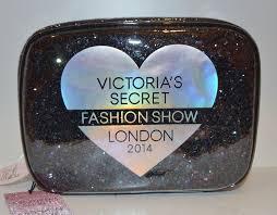 details about victorias secret black glitter heart makeup cosmetic case bag fashion show train