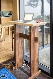 Stand Up Desk: Modern Wood Writing Desk, Tall Desk for Standing, Desk w/  Live Edge Stretcher, Podium/ Lectern- Handmade Custom Furniture