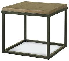 round wood and metal side table awesome french industrial oak wood metal square end table transitional