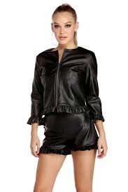 ruffle detail faux leather jacket
