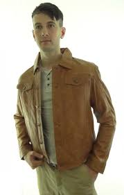 men s leather denim style jacket