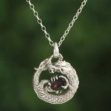 garnet and sterling silver uni dragon pendant necklace dragon s gem