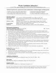 Technical Support Resume Format Fresh Technical Support Resume