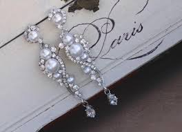 pearl bridal earrings crystal and pearl dangle earrings chandelier earrings silver pearl wedding earrings tilly
