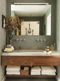 modern bathroom vanity. Exellent Modern A Concrete Countertop And Stainlesssteel Backsplash Provide A Contemporary  Feel To This Small Space Inside Modern Bathroom Vanity Pinterest