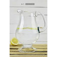 handmade clear glass footed jug pitcher water wine juice cocktail 2 5l tall 27cm