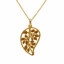 big leaf necklace silver 925 rhodium or gold plated