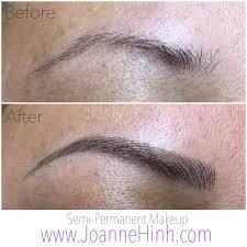 eyebrow razor tattoo. hairstroke eyebrow embroidery by joanne hinh. brow embroidery. 3d tattoo. feathering. razor tattoo a