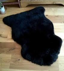 black fur rug genuine sheepskin rug black