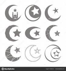 イスラム教星と三日月のシンボルのモノクロ アイコン セット ストック