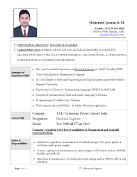 Resume Sample For Experienced Electrical Engineer Inspirationa Best