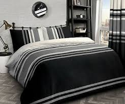 tonal stripe black duvet quilt cover