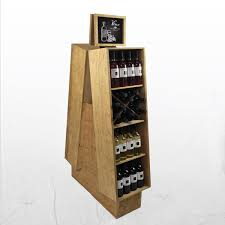 Bar Bottle Display Stand Convenience Store Fixtures Wine Bottle Displays Wood Bin Stand 90