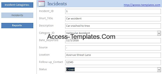 Incident Reporting Template Access Templates Incident Management System and Report Database 43