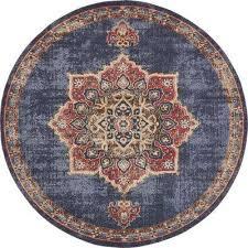 utopia dark blue 8 x 8 round rug dark blue cream