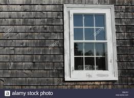 Holzschindeln Und Ein Fenster Auf Ein Haus In Mahone Bay In Nova
