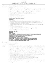 Mechanic Helper Resume Samples Velvet Jobs