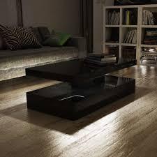 beautiful and stylish tiffany black high gloss rectangular coffee table with led lighting