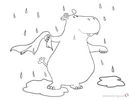 Raindrop Coloring Pages Hippo In The Rain Cartoon Clipart Free