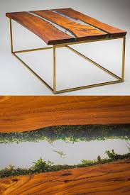 wooden table with moss base brass