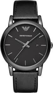 men s black emporio armani classic leather band watch ar1732