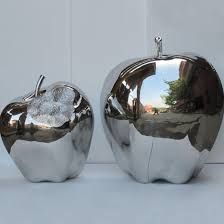 outdoor garden decor large metal statue stainless steel apple sculpture