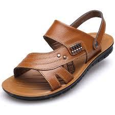 muhuisen men s leather sandals casual men slippers summer shoes gearbest