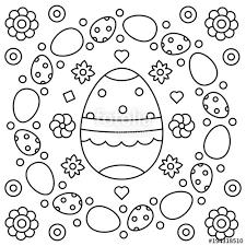 Easter Wreath Coloring Page Vector Illustration Stock Image And