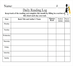 Summer Daily Schedule Template Reading Log Template Pdf Lytte Co