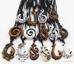 whole whole mixed hawaiian jewelry imitation bone carved nz maori fish hook pendant necklace choker amulet gift mn542 small pendant necklace