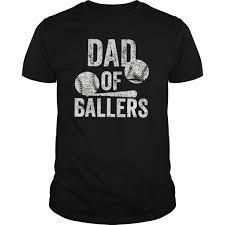 Mens Dad Of Ballers T Shirt Funny Baseball Softball Gift Tee Shirt