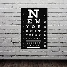 eye chart new york city poster typography print modern home