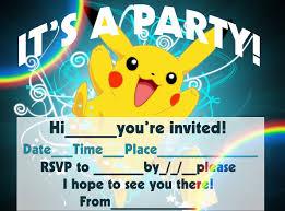 Pokemon Birthday Invitations Pokemon Birthday Invitations For