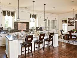 large kitchen island with eat in breakfast bar