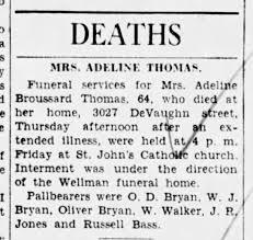 Death Notice - Adeline Broussard Thomas The Times (Shreveport, LA ...