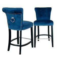 Blue Leather Bar Stools Light  Metal A26