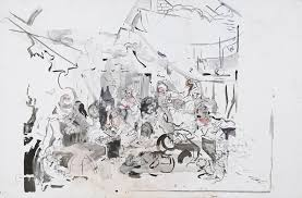 watercolor and ink on cecily brown strolling actresses 2018 watercolor and ink on