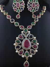 american diamond emerald and ruby necklace set indian kundan
