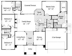 Gallery For Traditional House Plan U2013 4 Bedrooms 2 Bath 1240 Sq Ft Plan  41 224 Regarding The Best Pict 4 Bedroom 2 Bath House Plans
