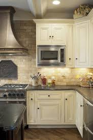 What Color Backsplash With White Cabinets Classy Mediterranean Kitchen Design Travertine Tile Backsplash White