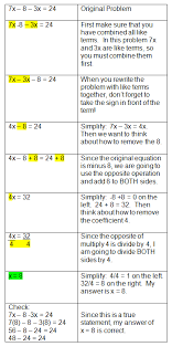 middle school maths algebraic equations chart equations in order to solve two step equations