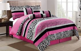 innovation ideas black and pink zebra comforter set com 7 piece oversize hot pink white leopard micro fur king size bedding 104 x94 home kitchen