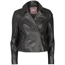 barneys women s real leather biker jacket anthracite image 1