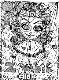 Zombie Coloring Pages For Adults Valid Halloween Girl Adult Of Cute