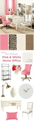 Get the look of this girly, home office with pink linen drapes, an animal